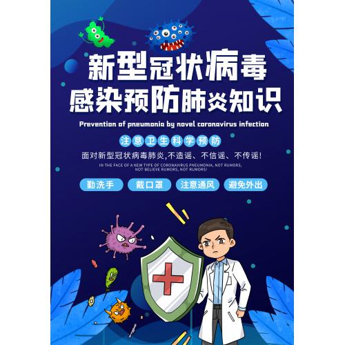 新型冠状病毒医学简约宣传单PSD矢量模板