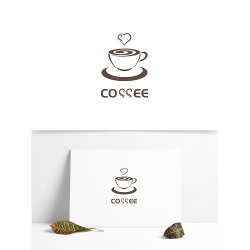咖啡餐饮行业logo设计饮品心形曲线