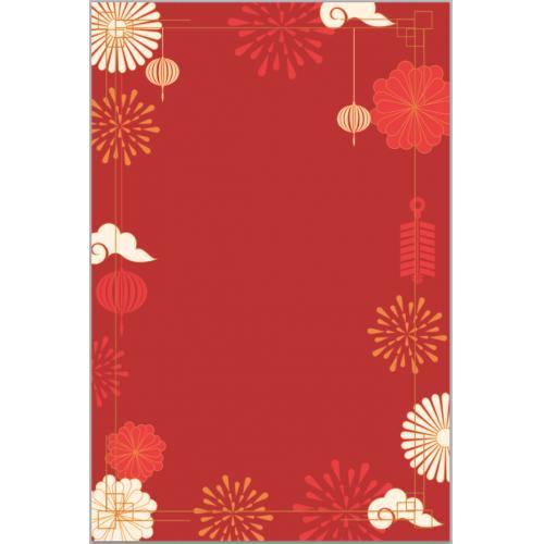 中国风复古新年红色烟花庆祝相框背景