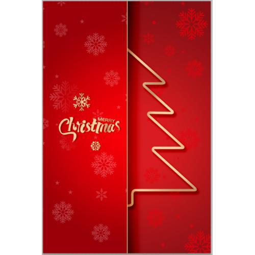 红色雪花纹理圣诞树圣诞节背景