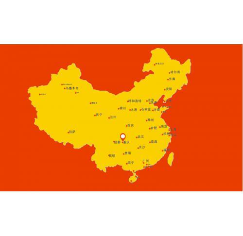 中国黄金矢量地图