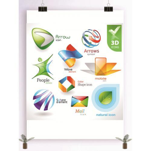 3D效果logo设计图标标志矢量logo广告设计师从业人员必备的